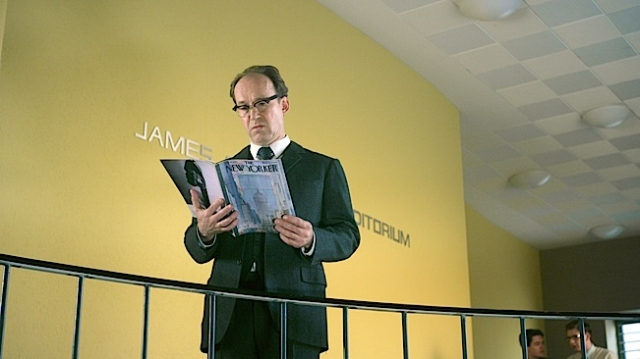 Ulrich Noethen as Hans Jonas reading Arendt`s infamous Eichmann report in HANNAH ARENDT.