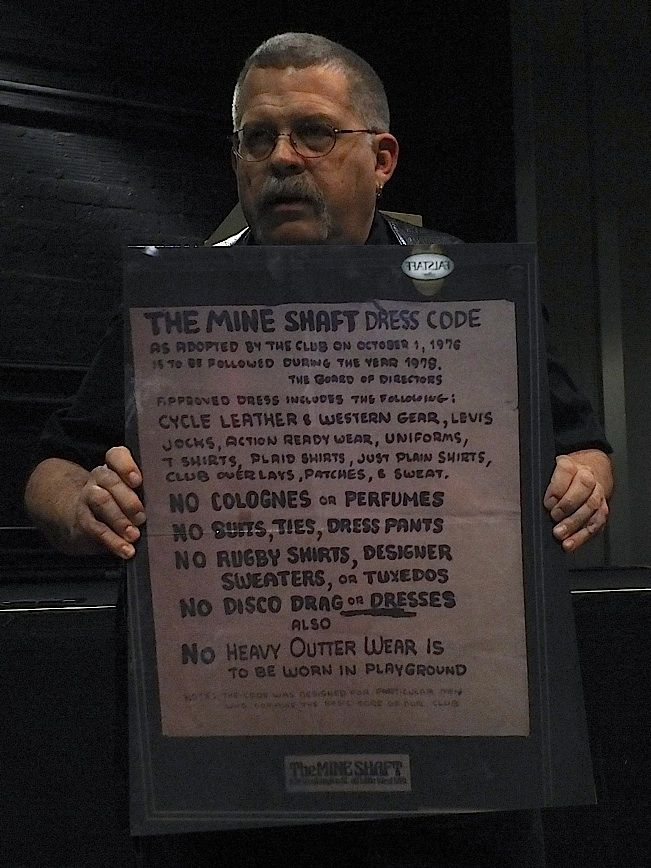 Hardy Haberman displays the vintage Old Guard dress code from The Mineshaft in New York. Photo by Steve Lenius.