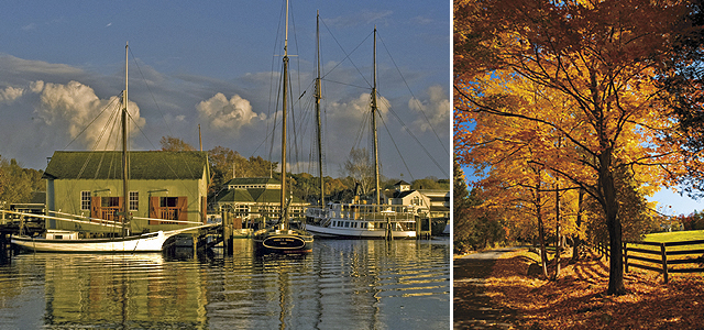 Enjoy the Calm Atmosphere of Mystic Seaport. Photo courtesy of the Connecticut Office of Tourism. New England Fall Foliage. Photo courtesy of iStockphoto.