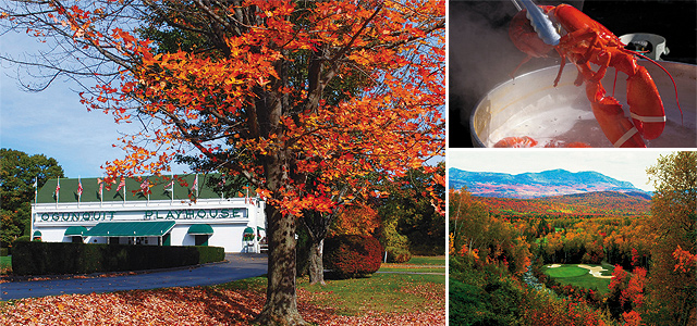 (Clockwise from left) Ogunquit Playhouse, photo by Robert Dennis; Miranda Havalotti Cooking Lobsters, photo by Cynthia Farr-Weinfeld; Foliage at Sugarloaf Golf Course, photo courtesy of Maine Office of Tourism.