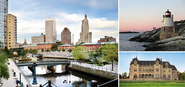 (Clockwise from left) Downtown Providence; Castle Hill Lighthouse; Historic Ochre Court Mansion in Newport.  Photos courtesy of iStockphoto.