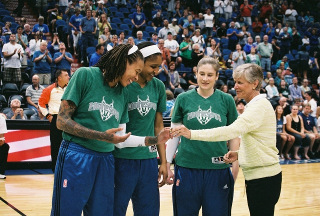 Minnesota Lynx Players Seimone Augustus Maya Moore Lindsay Whalen   were presented rings commemorating their 2012 Olympic Gold Medals from Carol Callan, Women's National Team Director  USA Basketball