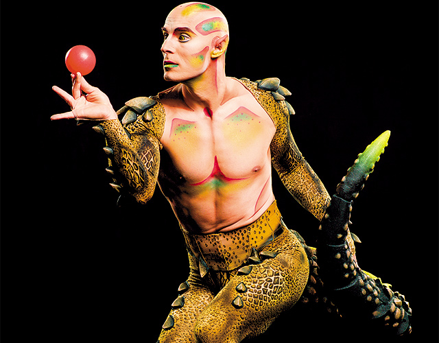 Cali is the impish half-lizard, half-human familiar of Miranda. Photo courtesy of Cirque du Soleil - Amaluna