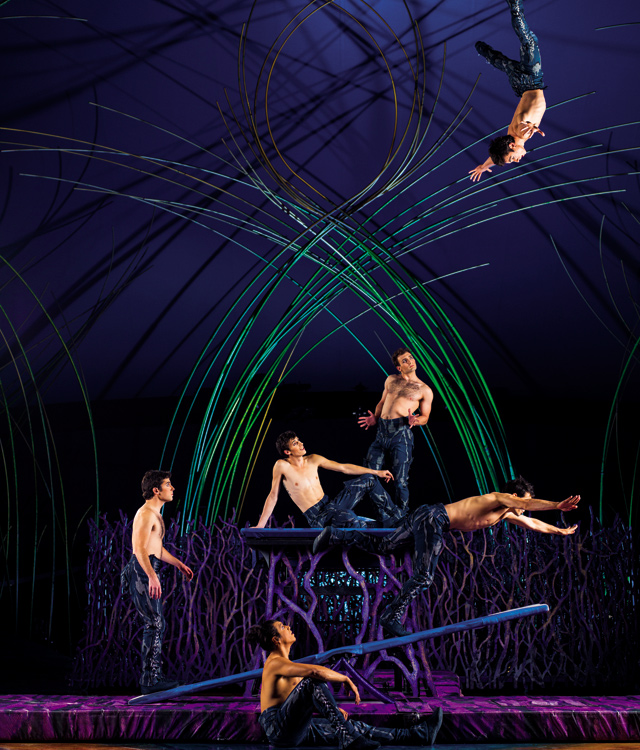 Sailor castaways on the teeterboard. Photo courtesy of Cirque du Soleil - Amaluna