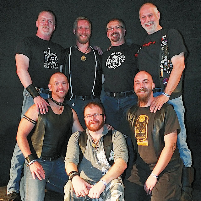 The Kink U Master/slave panel members. Front: Jayson Glynn. Second row: Slavepup Axel and Kyle Truss. Third row: Bud Lile, Ryan Brown, Randy Ingram and Jazz Thomas. Photo by Steve Lenius.