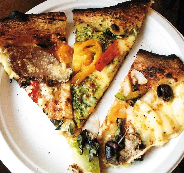 Three slices of three pies.