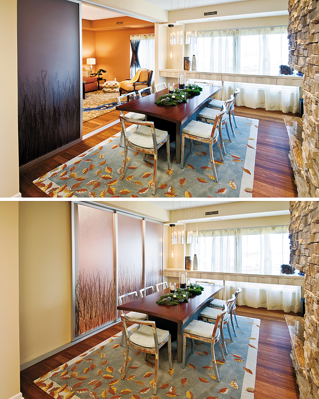 A decorative sliding door can transform an open living area into a cozy dining space for intimate dinner parties. Photos by Rik Sferra