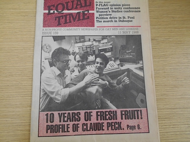 (L to R) Steve LaVigne, Gary Peterson & Claude Peck from Equal Time in 1988 when Fresh Fruit turned 10 years. This Equal Time paper is in The Tretter Collection archives.