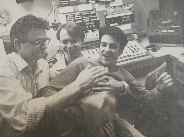(Left to Right) Steve LaVigne, Gary Peterson & Claude Peck from Equal Time in 1988 when Fresh Fruit turned 10 years. This Equal Time paper is in The Tretter Collection archives.