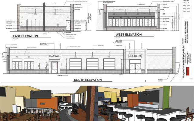 Plans and renderings of what Travail and The Rookery will be, united in the middle  by the Otagawa+Anschel wiggly bar.