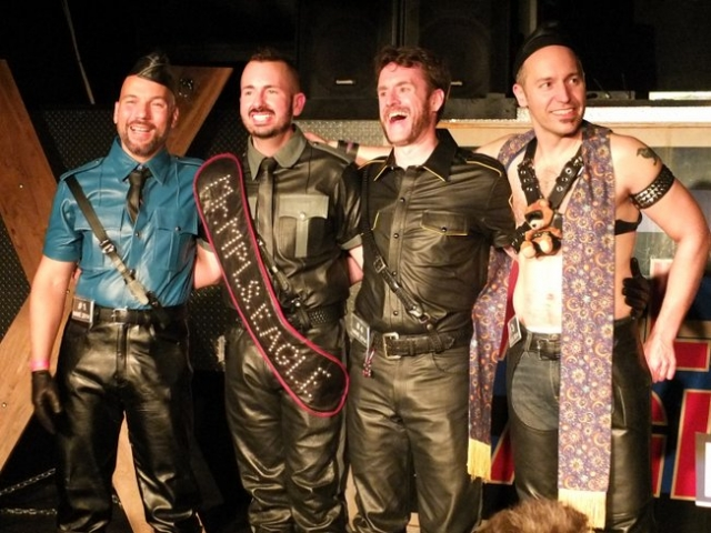 The contestants in the Mr. Minneapolis Eagle 2014 contest. Left to right: Ivan E. Nuñez, Jason Little (Mr. Minneapolis Eagle 2014), Tim Hotchkin (first runner-up) and Bernd Geels. Photo by Steve Lenius.