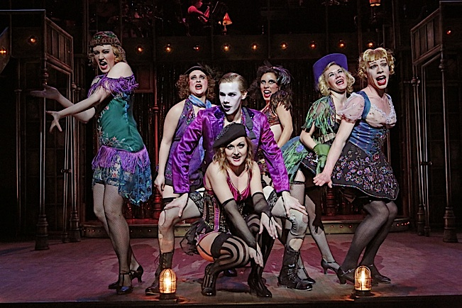 "Danielle Nelson (Fritzie), Ayesha Kinnunen (Rosie), Tyler Michaels (Emcee), McKayla Marso (Frenchie), Emily Madigan (Lulu), Krysti Witta (Texas) and Jeffrey C. Nelson (Helga) in Theater Latté Da and Hennepin Theatre Trust's production of ""Cabaret"""