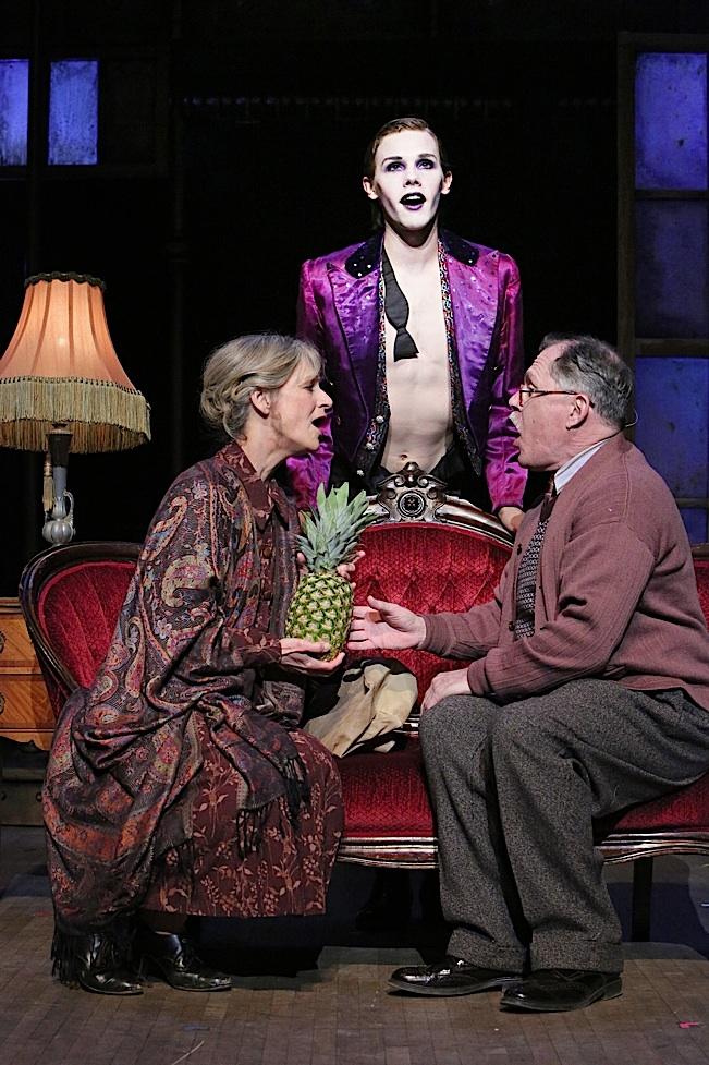 "Sally Wingert (Fr?ulein Schneider), Tyler Michaels (Emcee) and James Michael Detmar (Herr Shultz) in Theater Latté Da and Hennepin Theatre Trust's production of ""Cabaret"""