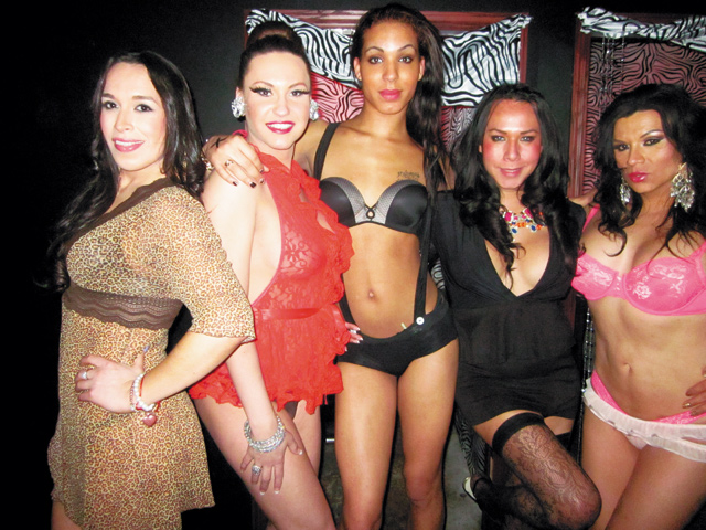(From left) Trans Exotica stars Vanessa, Brandonna Dupri LaReese, Rere, Christina, and Monica. Photo by George Holdgrafer
