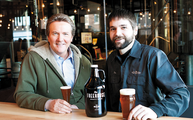 Pat and Head Brewer, Pio (Tom Piotrowski); A fraction of The Freehouse beer selection.