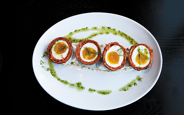 Smoked salmon Scotch eggs with mustard and dill.