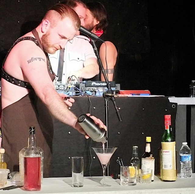 Greg Menzel demonstrates his bartending skills during the Talent portion of the contest. Photo by Steve Lenius.