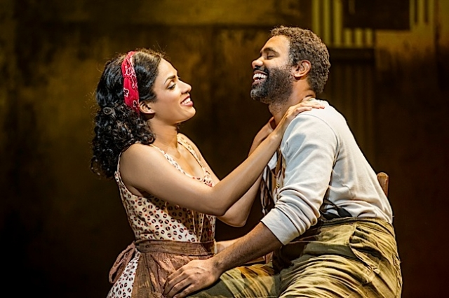 Alicia Hall Moran as Bess and Nathaniel Stampley as Porgy in The Gershwins' Porgy and Bess. Photo by Michael J. Lutch.