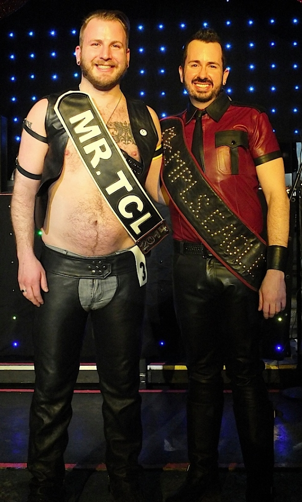 Left: Greg Menzel, Mr. Twin Cities Leather 2014. Right: Jason Little, Mr. Minneapolis Eagle 2014. Photo by Steve Lenius.