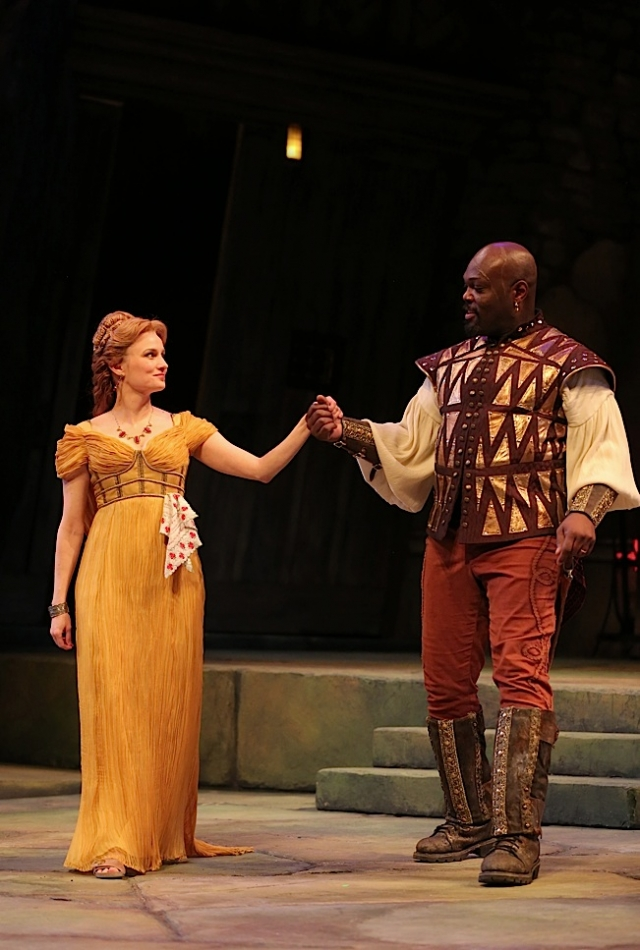 Tracey Maloney (Desdemona) and Peter Macon (Othello). Photo by Joan Marcus.
