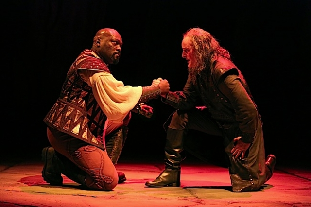 Peter Macon (Othello) and Stephen Yoakam (Iago). Photo by Joan Marcus.