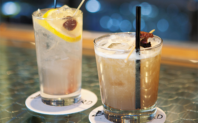 Lavender Lemonade Refresher and Maple Bourbon Sour made with maple and bacon-infused whiskey…how can that be bad?