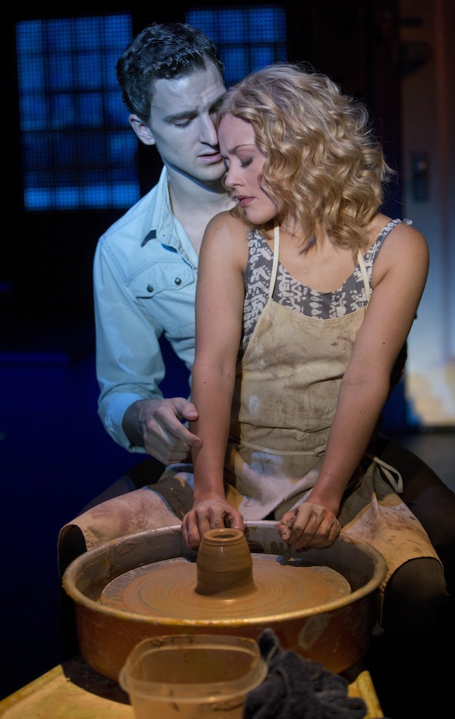 Steven Grant Douglas (Sam) and Katie Postotnik (Molly) recreate the iconic pottery wheel scene. Photo by Joan Marcus