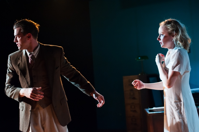 "Peter Christian Hansen and Jane Froiland in ""Rocket to the Moon"" Photo by Aaron Fenster"