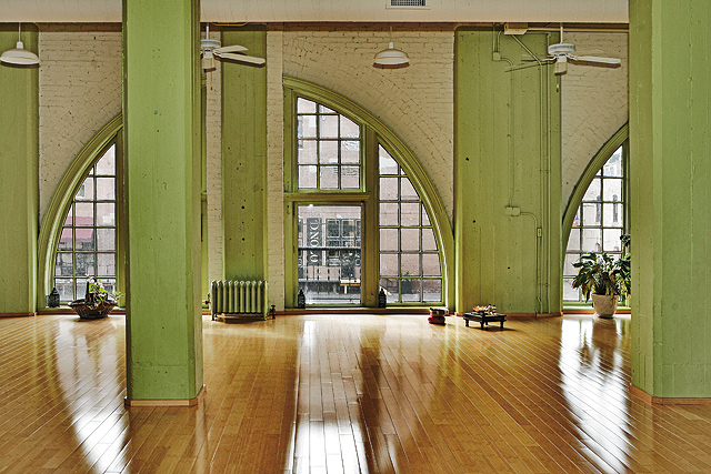 The bright and airy space at the Yoga Center. Photo by Mike Hnida