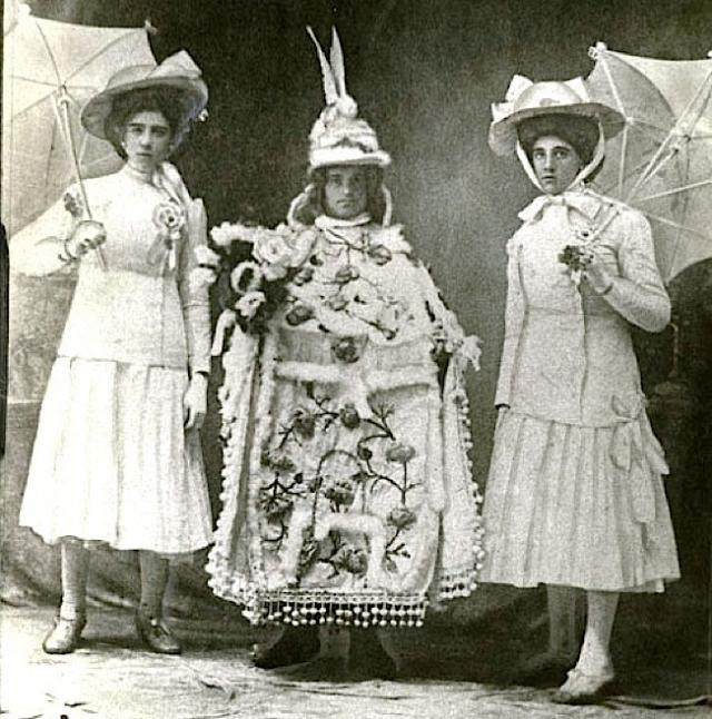 A Mummers' Parade participant (center) in 1902. Photo courtesy of Bob Skiba.