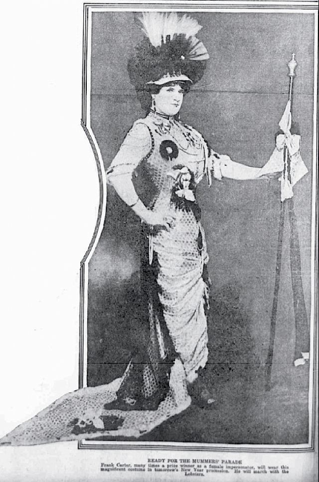 Female impersonator Frank Carter modeling his parade attire in advance of the 1916 Mummers' Parade. Photo courtesy of Bob Skiba.