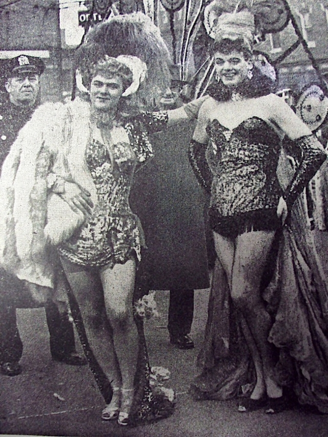 Female impersonators Ray Gordon (left) and Lee Watson at the 1949 Mummers' Parade. Photo courtesy of Bob Skiba.