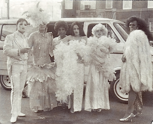 The likenesses of Joel Grey (from left), Carmen Miranda, Shirley Bassey, Cher, Marilyn Monroe and Diana Ross marched with the Trilby String Band in the 1985 Mummers' Parade. Credit: Harry Eberlin