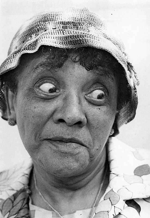 Jackie 'Moms' Mabley became famous for her persona as a frumpy, middle-aged woman in a housedress.