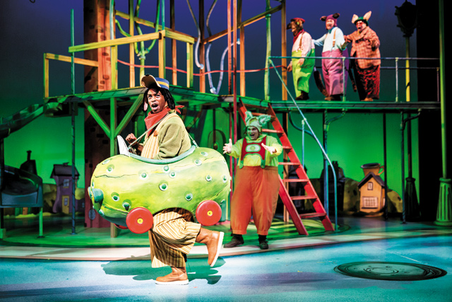 Kasono Mwanza, in a pickle car, in Richard Scarry's Busytown the Musical. Photo by Dan Norman