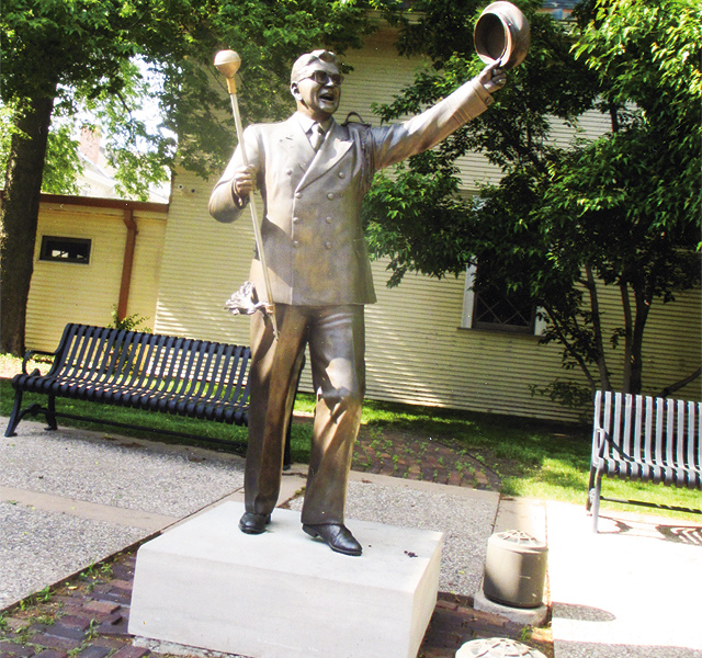 Meredith Willson's The Music Man statue outside the museum in his honor. Photo by Carla Waldemar