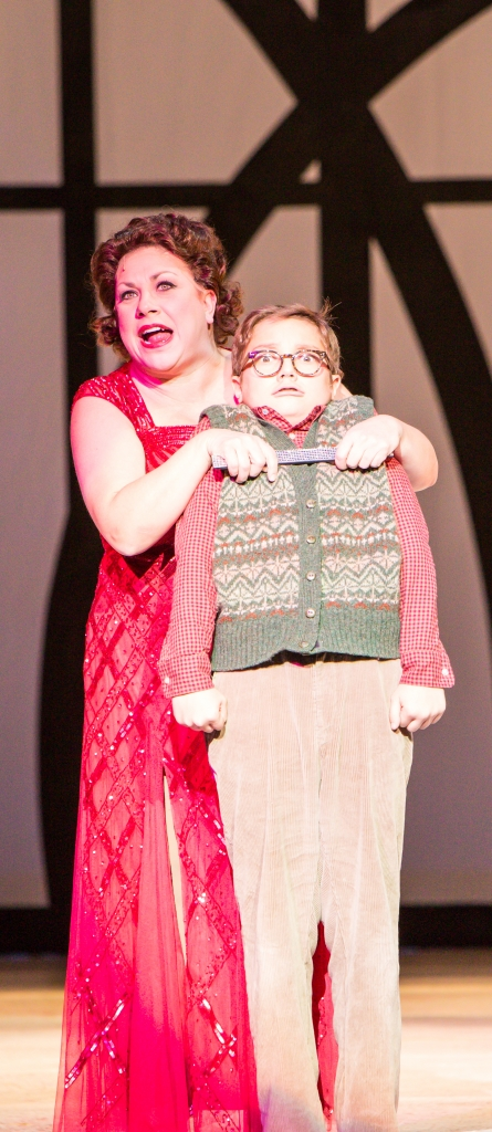 Erin Schwab as Miss Shields and Jake Goodman as Ralphie in A Christmas Story, the Musical. Photo by Christian Brown