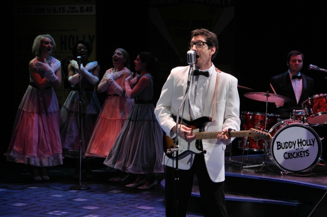Nick Freeman as Buddy Holly at Clear Lake's Surf Ballroom. Photo by Scott Pakudaitis