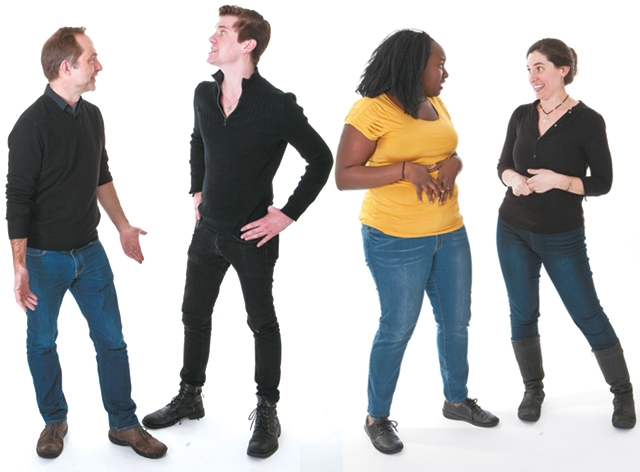 Love and Information cast members photographed here: Woman in yellow shirt: Joy Dolo; woman in black shirt: Taous Khazem; man in blue jeans: Patrick Bailey; man in black pants: Sam Pearson.