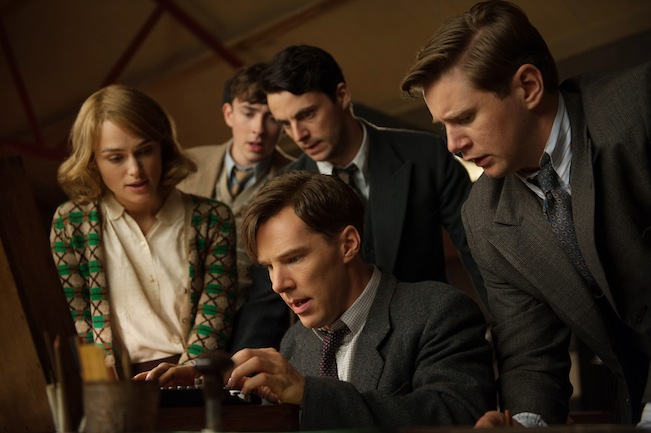 (L-R) Keira Knightley, Matthew Beard, Matthew Goode, Benedict Cumberbatch, and Allen Leech star in THE IMITATION GAME. Photo courtesy of The Weinstein Company