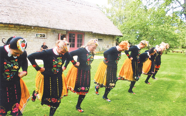 A ladies' dance group Nauste Mihkli guesthouse on Muhu Island, Estonia. Photo by Carla Waldemar