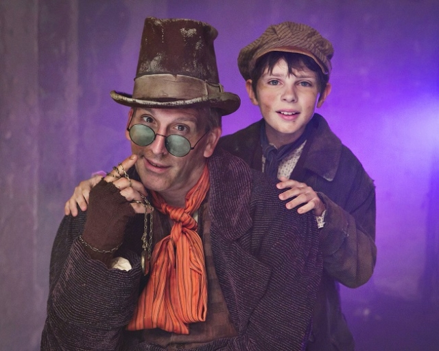 Bradley Greenwald (Fagin) and Nate Turcotte (Oliver). Photo by Heidi Bohnenkamp