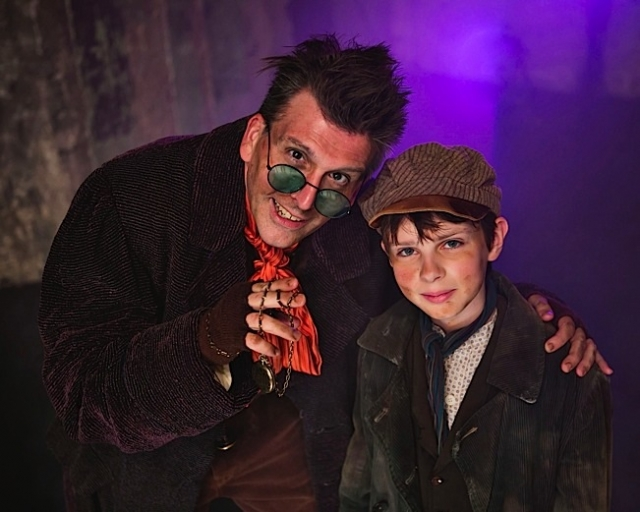 Bradley Greenwald (Fagin) and Nate Turcotte (Oliver). Photo by Heidi Bohnenkamp.