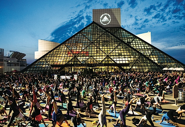 Yoga at the Rock and Roll Hall of Fame and Museum. Photo courtesy of ThisisCleveland.com
