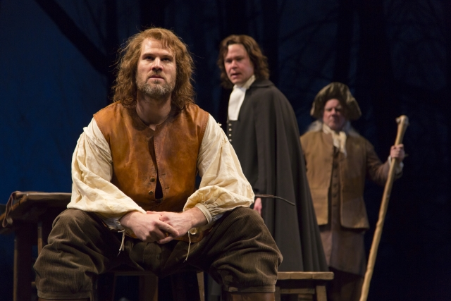 Erik Heger (John Proctor), John Catron (Rev. John Hale) and Peter Michael Goetz (Giles Corey) in the Guthrie Theater's production of The Crucible Photo by T. Charles Erickson.