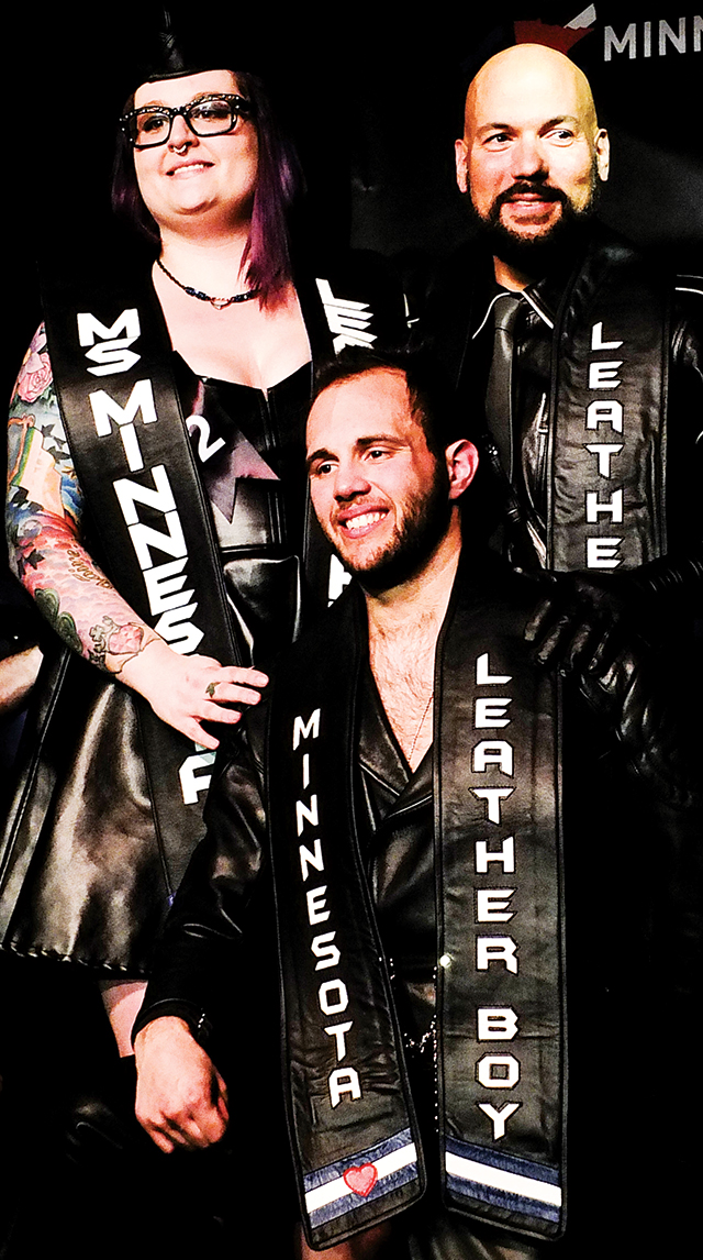 Aurora Lee, Ms. Minnesota Leather Pride 2015; Boy Woody, Minnesota Leatherboy 2015; and Ivan Nunez, Minnesota Leather Sir 2015. Photo by Steve Lenius