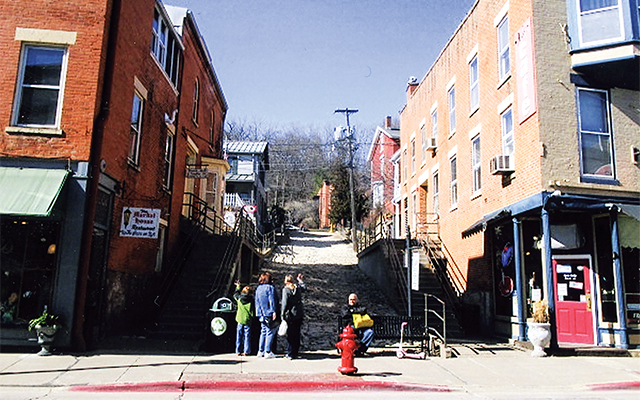 Old cobblestone street downtown Galena. Photo by Carla Waldemar