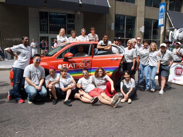 "Members of FCA GALA in front of the ""Grand Marshal"" 2016 Fiat 500X"