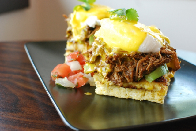 Chipa Guazu beneath BBQ Carnitas Benedict at Pilgrimage Cafe. Photo by Andy Lien