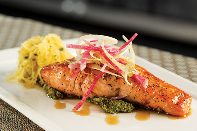 Enjoy the Beacon's flaky maple glazed salmon for dinner. Photo courtesy of The Commons Hotel